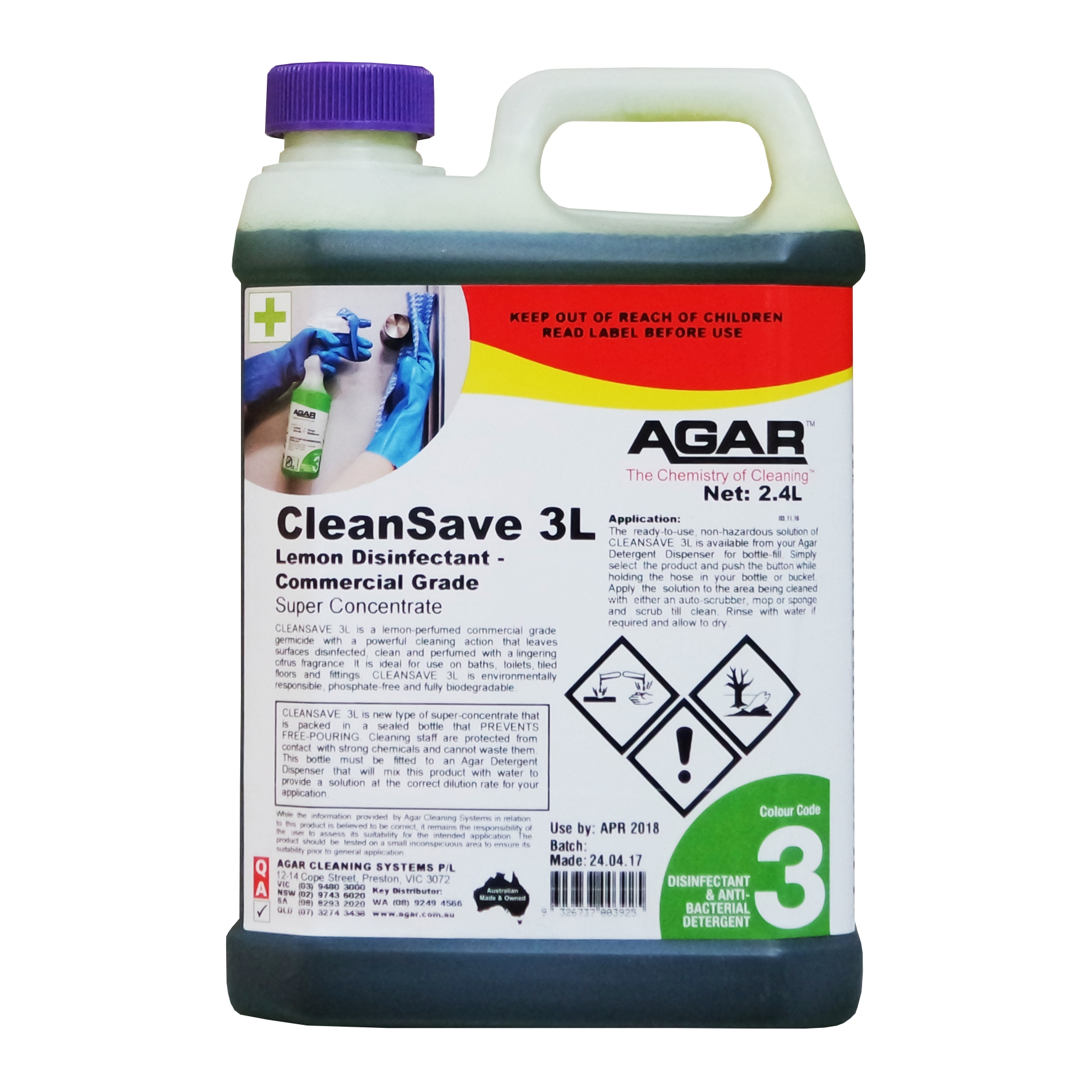 Cleansave 3l Perfumed Disinfectant Agar Cleaning Systems