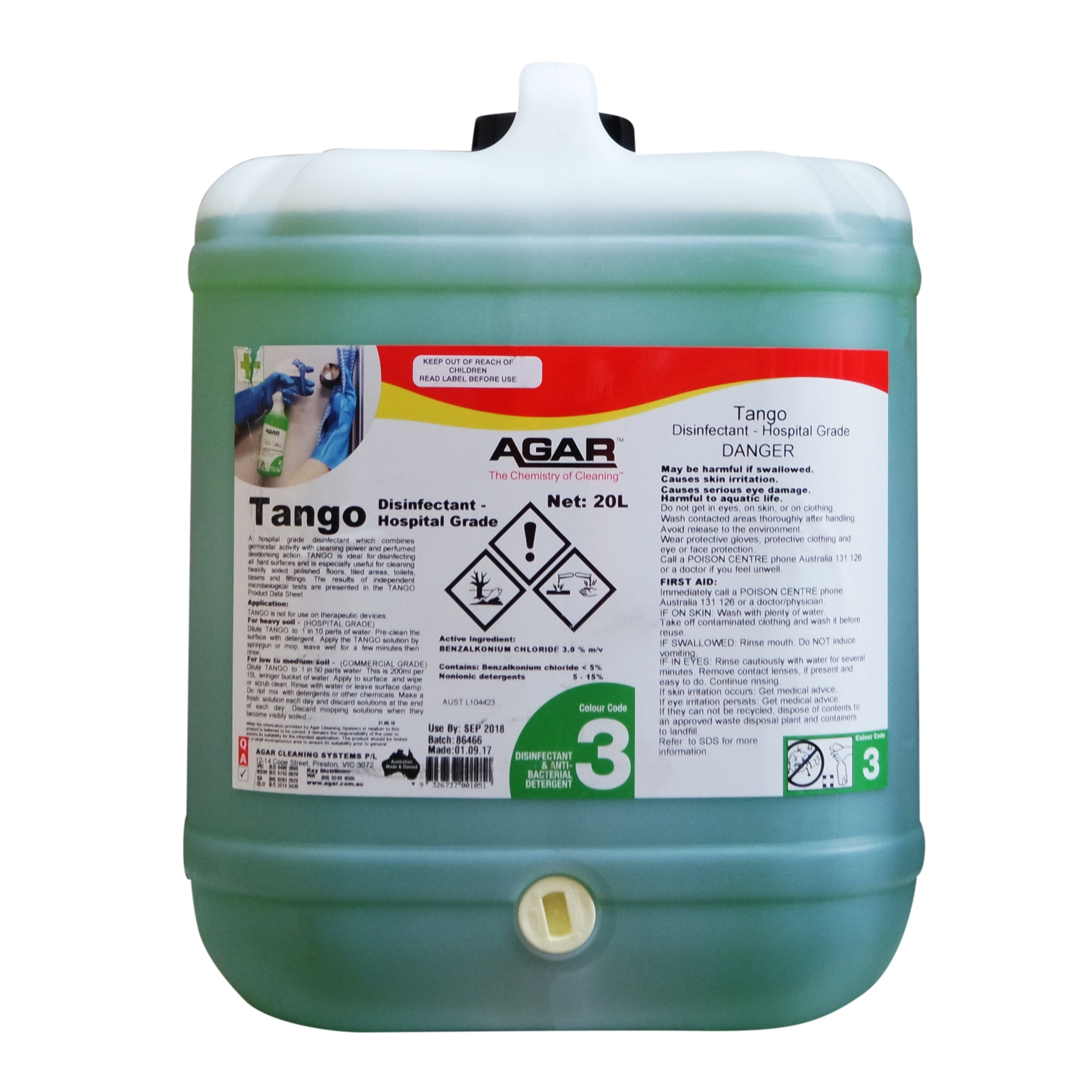 Tango - Hospital Grade Disinfectant | Agar Cleaning Systems