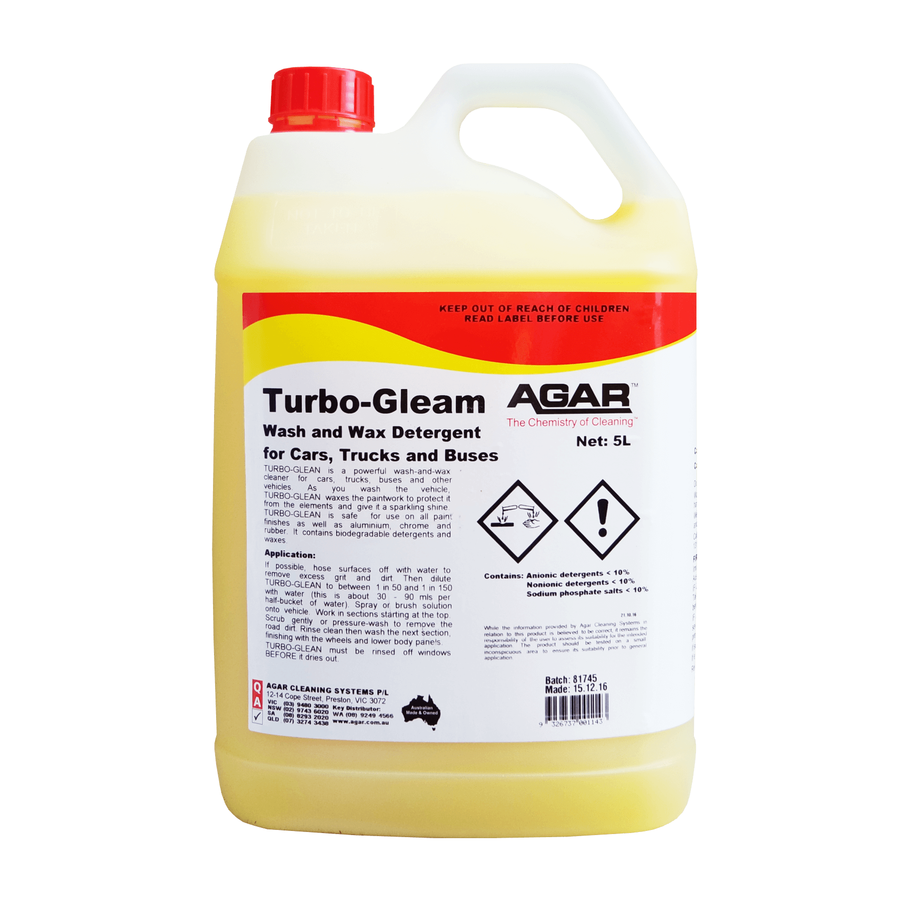 Turbo Gleam Car Wash Wax Agar Cleaning Systems